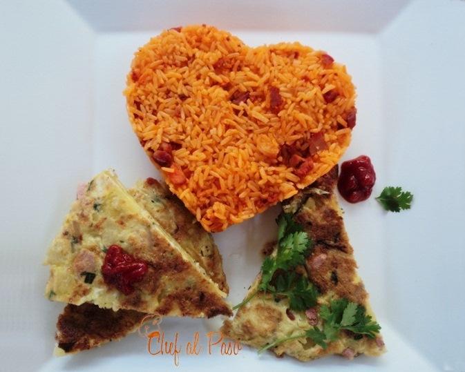 arroz naranja con tortilla española