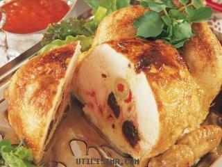 pollo relleno con ciruelas