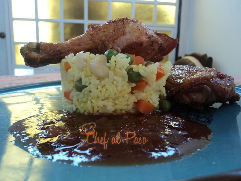 pollo con arroz a la jardinera