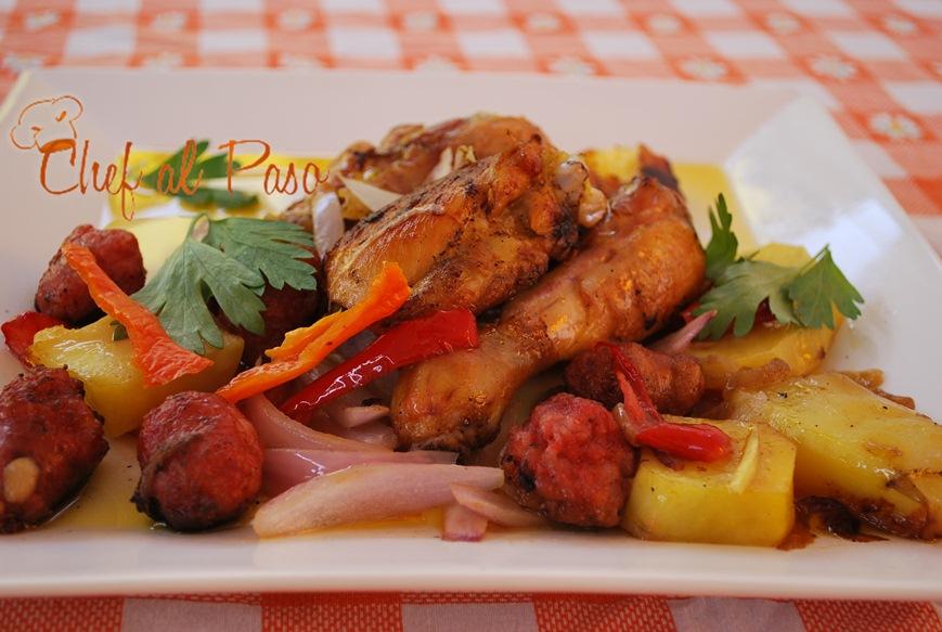Guiso de pollo con chorizo