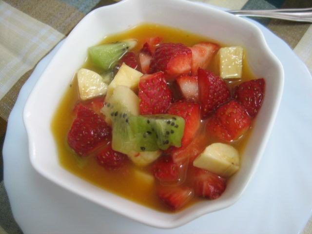 ensalada de fresas platano
