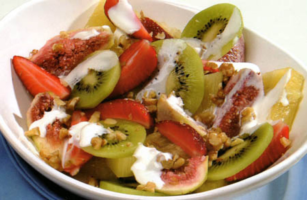 ensalada de frutas con crema de limn