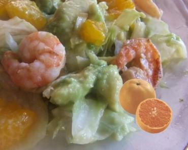 ensalada mandarina y camarones