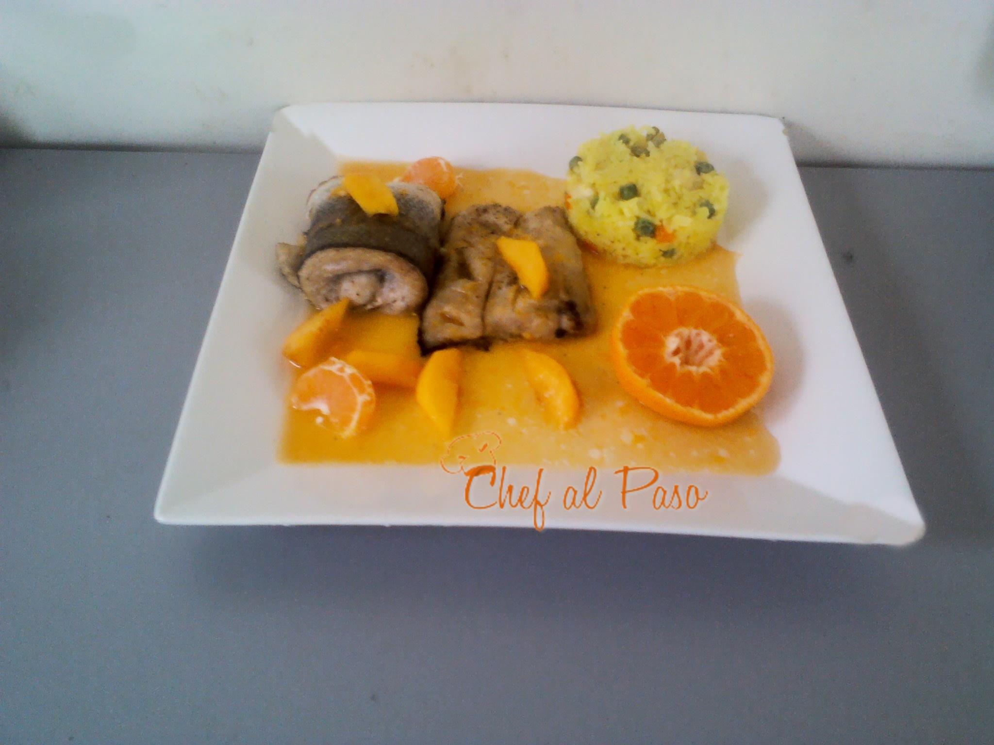 Filetes de pesacado con durazos y viengreta de mandarina