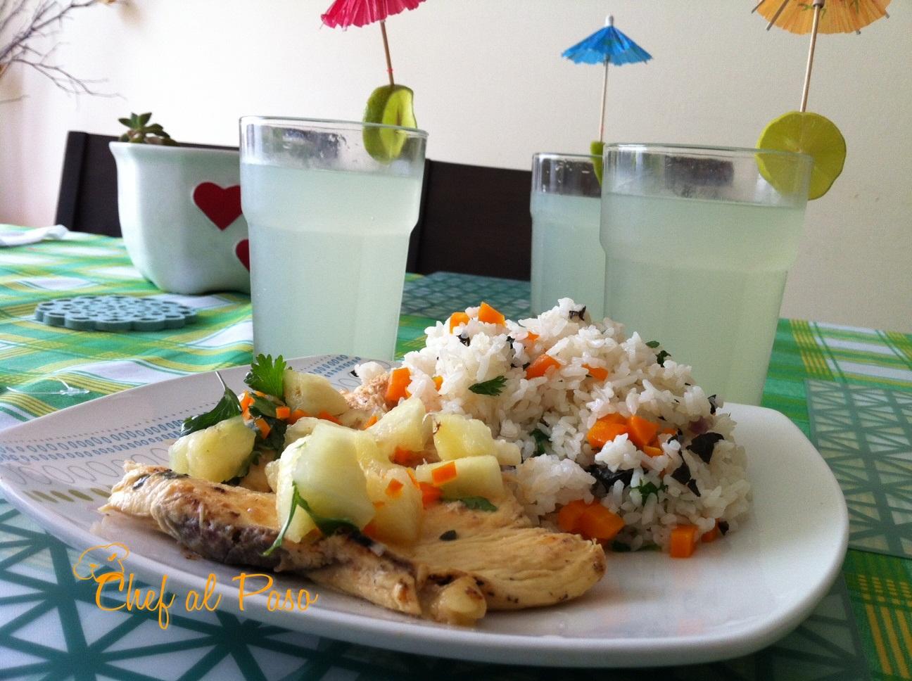 pollo a la hawaiana con arroz 3