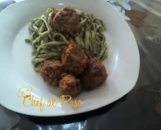 spaghetti verdes con albondigas de carne 5
