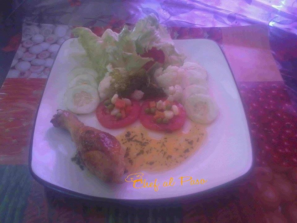 piernas pollo a la Meniere  con ensalda de verduras 2