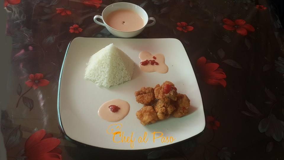 amor chicharron de pollo con salsa rosa 4