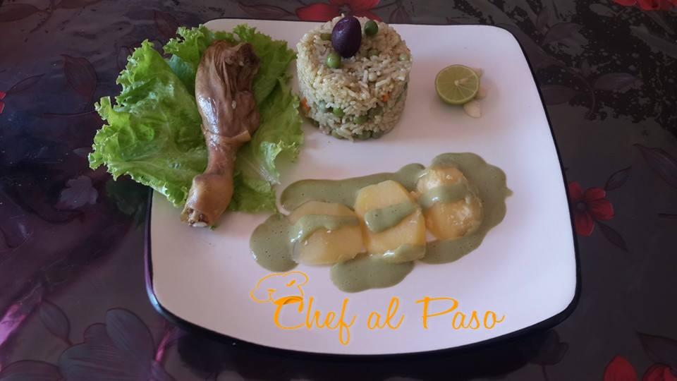 arroz con pato con salsa verde 2