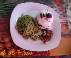 arroz tapado con tallarines verdes 2