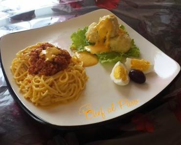 espaguetis a la boloñesa con papa a la huancaina 3