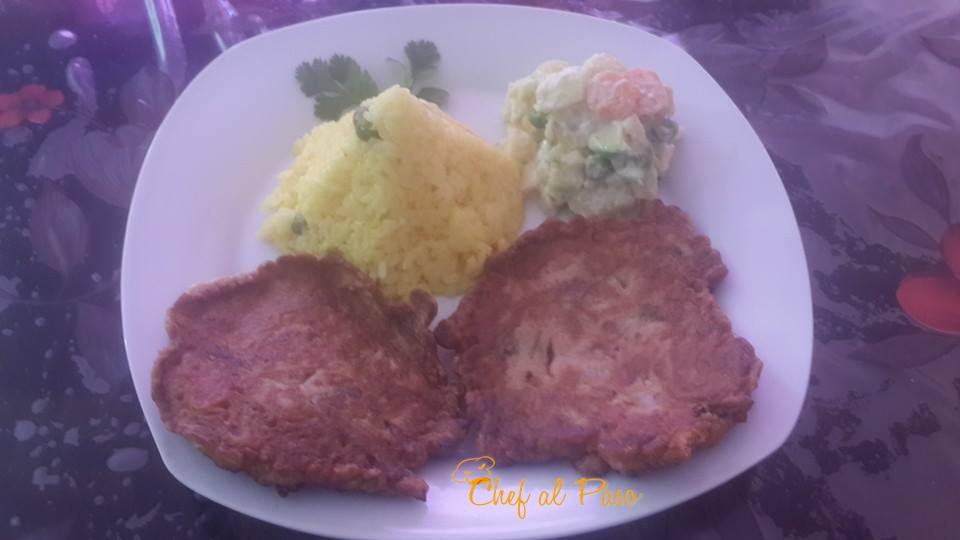 Tortillas de atun con arroz amarillo y ensalada rusa 2