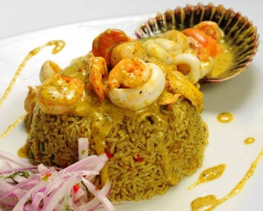 arroz montado con langostinos