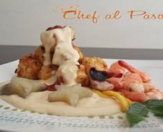 Chicharron de pota con salsa blanca y mariscos 2