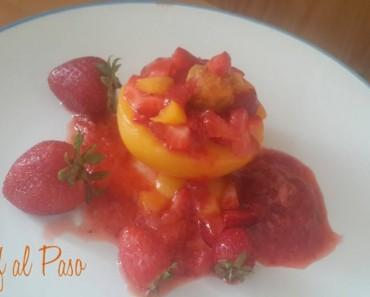 Durazno relleno de fresas 2