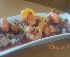 arroz marado con salsa de mandarina y mariscos  3