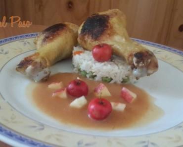 piernas de pollo  con pure de manzana 6