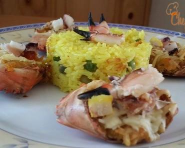 Carapachos rellenos  con  arroz amarillo 2