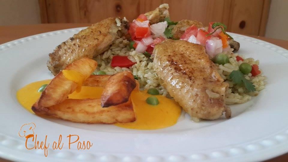 arroz verde con  alitas de pollo y salsa a la huancaina 2