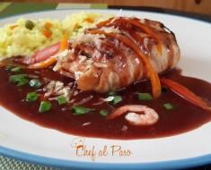 Corvina rellena de langostinos con salsa ajonjoli 2