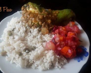 Caigua rellena de carne con arroz blanco 2