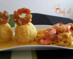 Causa con langostinos y tallarines en salsa a la huancaína 2