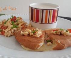 Huevos revueltos con avena y  pan con queso 2
