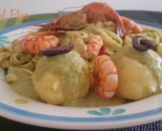 Pasta con camarones en salsa de ocopa 2