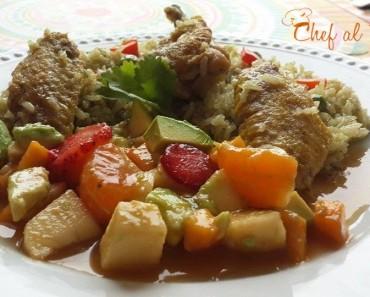 alitas de pollo con arroz verde y ensalada de frutas 4