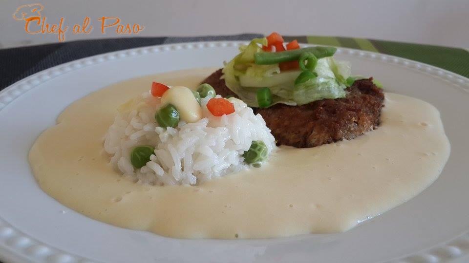 Apanado de res con arroz blanco y pur de papachef al paso for Cocinar 2 tazas de arroz