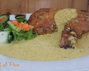 Pollo al horno con crema de aji amarillo  y ensalada fresca 3