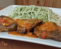 espaguetis bicolor con asado de res 2