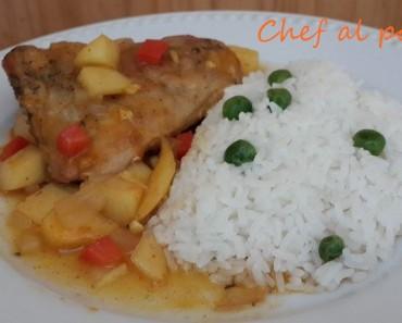 pollo con mazana y arroz blanco 2