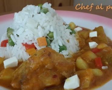 logro de zapallo con pollo y arroz blanco 3