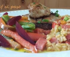 Bonito con salteado de verduras y arroz con chorizo 2