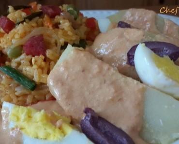 arroz con chorizo con papa y crema de rocoto 3