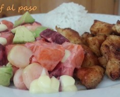pollito frito con ensalada de verduras 2