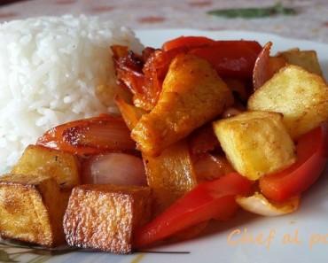 saltadito de pollo con arroz blanco 4
