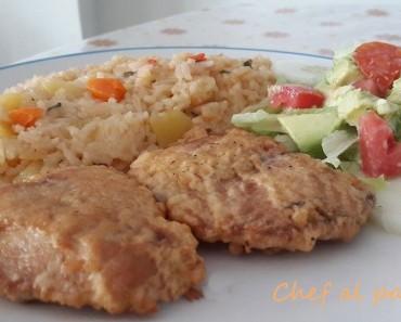 Bonito arrebozado ensalada de palta y arroz atamalado 3