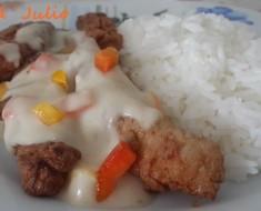fajitas de pollo arrebosadas  con salsa blanca 3