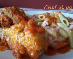 músculos de pollo con salsa de tomate y macarrones 4