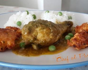 Guiso de pollo con arroz y arañitas de yuca 3
