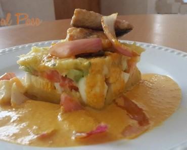 causa rellena con escabeche de pescado y salsa a la huancaina 3
