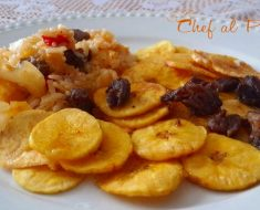 Calentedito de arroz con chifles y carne seca 3
