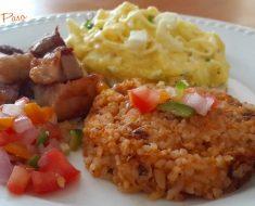panceta de cerdo fritas  con tacu tacu y papas revuelta con huevo 1
