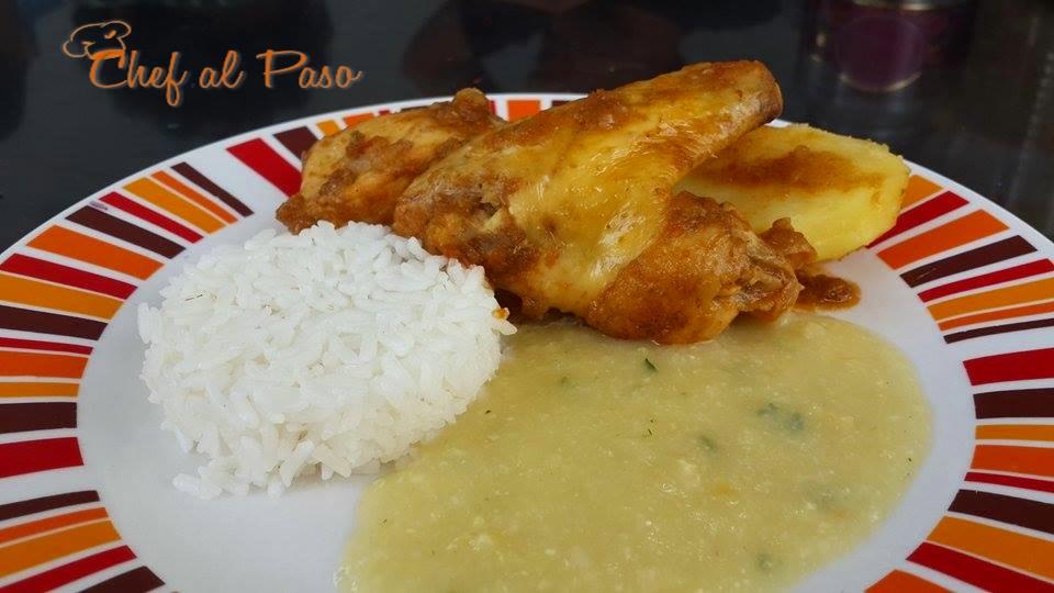 Espesado de choclo con guiso de pollo y arroz 3