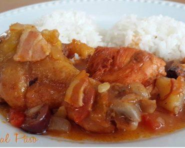 guiso  de pollo con tocino 3
