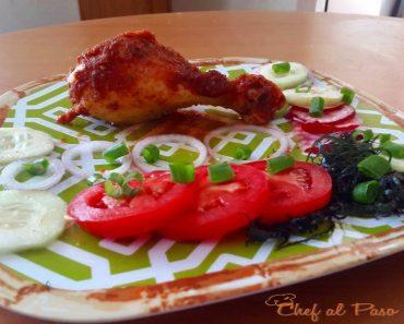 Pollo al horno en salsa de manazana con ensalada 2
