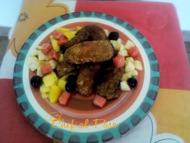 Alitas de pollo en salsa de sandia y frutas 2
